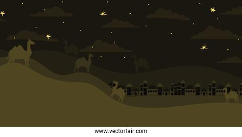 manger houses cityscape and camels night scene