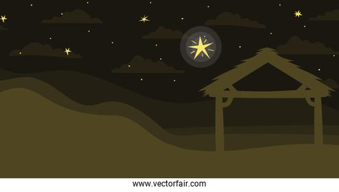 desert night with stable landscape scene icon