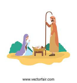 cute holy family manger characters