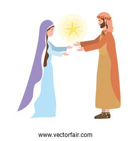 saint joseph and mary virgin and star manger characters