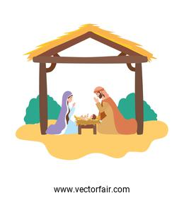 cute holy family in stable manger characters