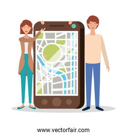 young couple with smartphone and gps app