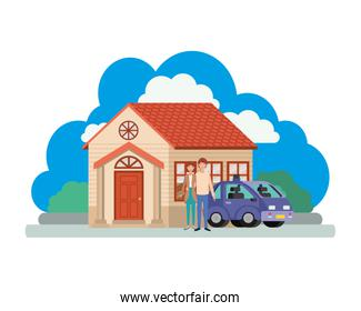 young couple with smart car and house scene