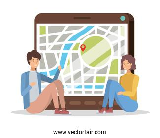 young couple with tablet and gps app