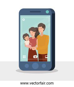happy family members in smartphone characters