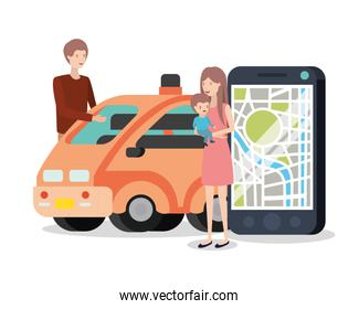 young couple with smart car and gps device