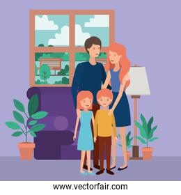 cute and happy family members in the livingroom