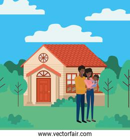 young afro couple outdoor the house