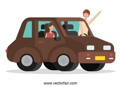 young couple with smart car scene
