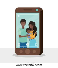cute afro family members with smartphone