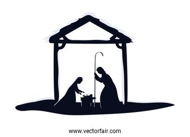 saint joseph and mary virgin in stable manger characters