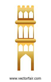 golden manger tower building isolated icon