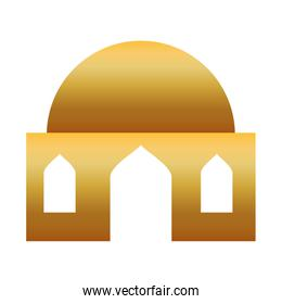 golden manger house building isolated icon