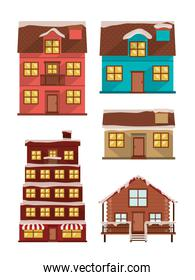 bundle of houses facades with snow