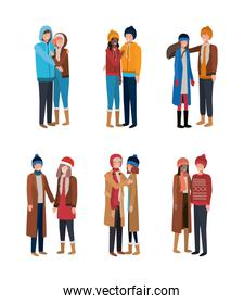 group of young people with winter clothes over white