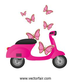 pink cute motorbike with butterflies isolated vector