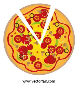 pizza with ingredients isolated over white background vector