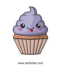 cupcake character isolated icon design