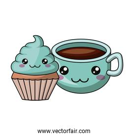 cupcake and coffee character isolated icon design