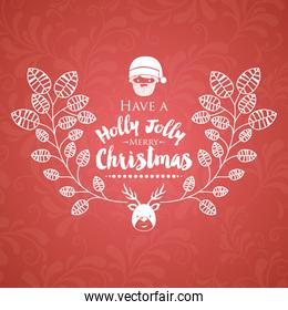Christmas poster with isolated icon design