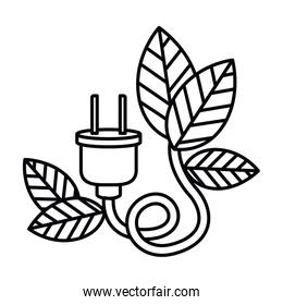 electric plug with leaves isolated icon design