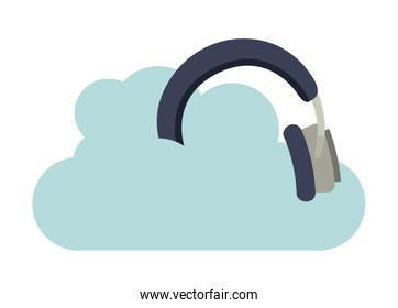 headphones music with cloud isolated icon design