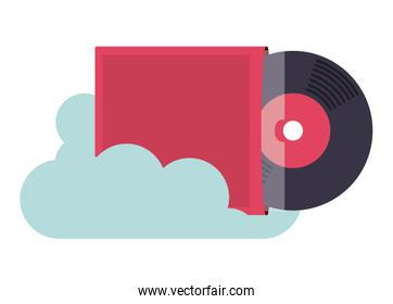 vinyl music with cloud isolated icon design