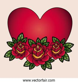 heart and flowers tatto isolated icon design