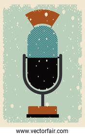 old microphone poster isolated icon design