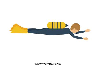 male athlete practicing diving isolated icon design
