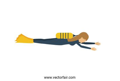 female athlete practicing diving  isolated icon design
