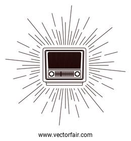 old radio poster over burst background isolated icon design