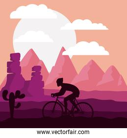 cycling race with beautiful landscape background isolated icon d