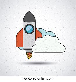 rocket launch with clouds isolated icon design