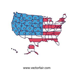 usa map with flag isolated icon