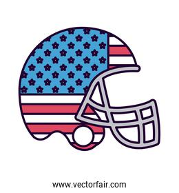 american football with flag usa isolated icon design