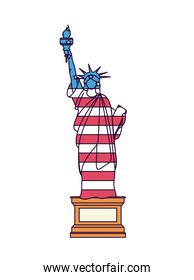 liberty statue with flag isolated icon design