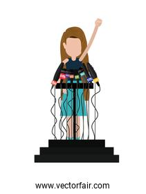 podium with many microphones isolated icon design