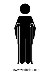 crutches person  isolated icon design