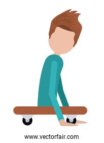 disabled person on skateboard isolated icon design