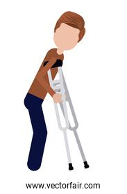 crutches person invalidates isolated icon design
