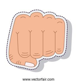 hand human fist sticker isolated icon
