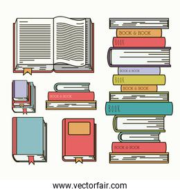 books set library isolated icon
