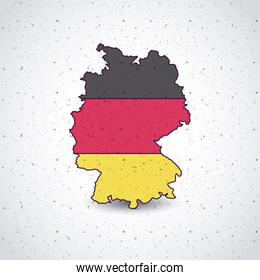 germany map with flags colors isolated icon