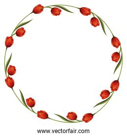 wreath floral decoration circle isolated icon