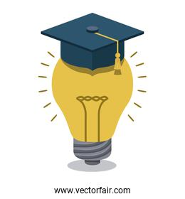 bulb with graduation hat isolated icon