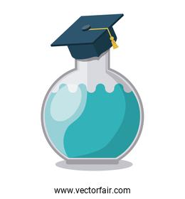 tube test with graduation hat isolated icon