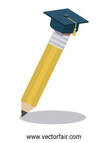 pencil with graduation hat isolated icon