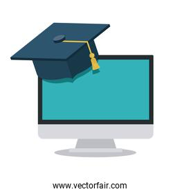 computer with graduation hat isolated icon