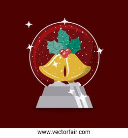 Gold bell and sphere of Merry Christmas design